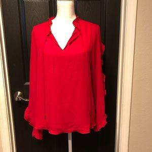 t tahari  Red ruffled sleeve blouse